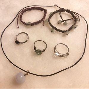 Jewelry - Jade Jewelry Lot 6 Pieces Necklace Bracelet Ring